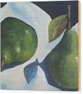 Green Pears on Linen - 2007 Wood Print