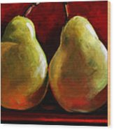 Green Pears On Red Wood Print