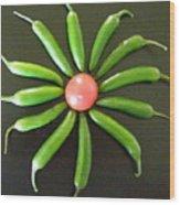 Green Pepper Design Wood Print