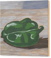 Green Pepper Wood Print