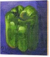 Green Pepper On Linen Wood Print