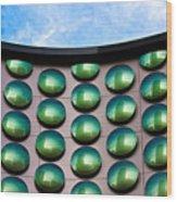 Green Polka-dot Curve Wood Print