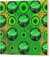 Green Polka Dot Roses Fractal Wood Print