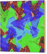 Green Red And Blue Melody Panel Abstract Wood Print