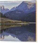 Green River Lake Fly-fisherman Wood Print