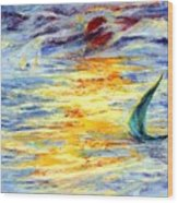 Green Sail At Sunset Wood Print