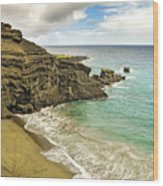 Green Sand Beach On Hawaii Wood Print by Brendan Reals