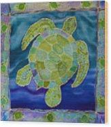 Green Sea Turtle Silk Painting Wood Print