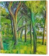 Green Shore Trees Wood Print