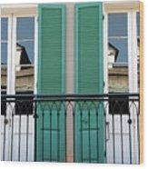 Green Shutters Reflections Wood Print