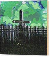 Green Sky Cross Wood Print