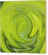 Green Swirl Wood Print