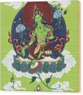 Green Tara Wood Print by Carmen Mensink