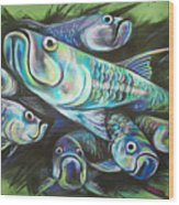 Green Tarpon Collage Wood Print