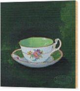 Green Teacup Wood Print