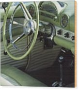 Green Thunderbird Wheel And Front Seat Wood Print