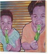 Green-tongued Cousins 2014 Wood Print