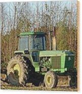 Green Tractor Wood Print