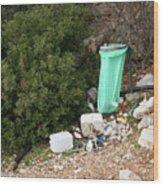 Green Trash Bag And Rubbish In Croatia Wood Print