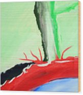 Green Tree Red Ridge Wood Print