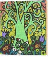 Green Tree With Purple Tulips Wood Print