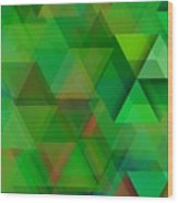 Green Triangles Over Green Mist Wood Print