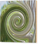 Green Twirl Wood Print