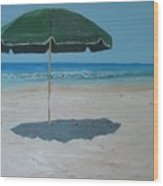 Green Umbrella Wood Print
