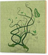 Green Vine And Butterfly Wood Print