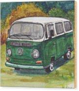 Green Vw Bus Wood Print
