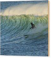 Green Wall Surfer Wood Print
