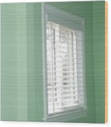 Green Wall White Window Wood Print