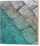 Green Water Blocks Wood Print