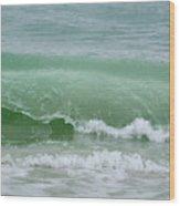 Green Wave Wood Print