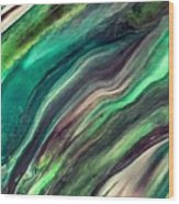 Green Waves Wood Print