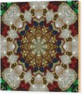 Green White Red Blue Kaleidoscope 1 Wood Print