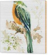 Green Wild Bird Wood Print