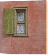 Green Window On A Red Wall Wood Print