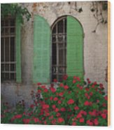 Green Windows And Red Geranium Flowers Wood Print by Yair Karelic