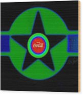 Green With Blue Wood Print