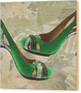 Green With Envy Pumps Wood Print