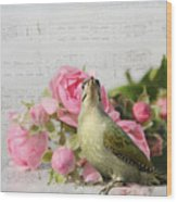 Green Woodpecker Stilllife Wood Print