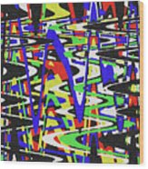Green Yellow Blue Red Black And White Abstract Wood Print