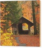 Greenfield Pumping Station Bridge Autumn Wood Print