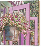 Greenhouse Doors Wood Print
