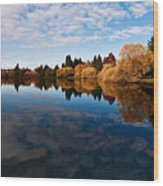 Greenlake Fall Reflections Wood Print