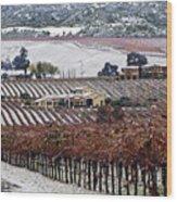 Greenville Vineyard In Snow Wood Print
