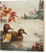 Greenwinged Teal Ducks Wood Print