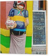 Greeter At Pizzeria In La Boca Area Of Buenos Aires-argentina- Wood Print