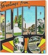 Greetings From Columbia South Carolina Wood Print